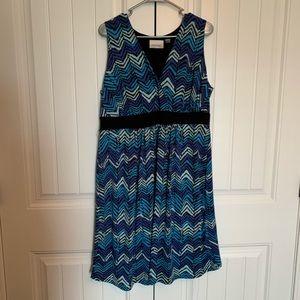 Avenue 14/16 Blue Chevron Sleeveless Blue Dress
